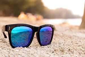 Fotos Nahaufnahme Brille Sand