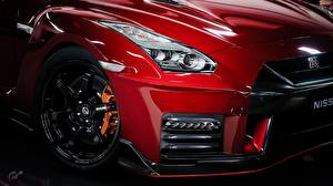 Picture Closeup Nissan Metallic Wheels Headlights Red GTR Nismo Gran Turismo automobile