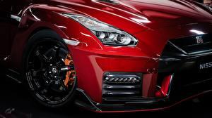 Fonds d'écran En gros plan Nissan Métallique Roues Phare automobile Rouge GTR Nismo Gran Turismo voiture
