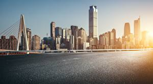 Bakgrundsbilder på skrivbordet Kusten Hus Broar Skyskrapor Kina Chongqing stad