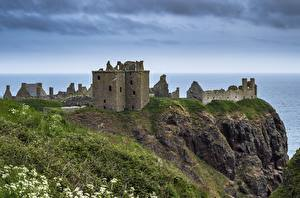 Bakgrundsbilder på skrivbordet Kusten Skottland Borg Ruinerna Klint landform Gräset Dunnottar Castle Natur