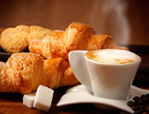 Picture Coffee Cappuccino Croissant Cup Sugar Grain Food