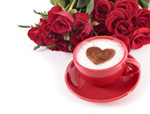 Images Coffee Cappuccino Valentine's Day Heart Cup Saucer White background Food