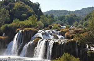 Fonds d'écran Croatie Chute d'eau Parc Rivières Krka national Park, river Krka Nature images