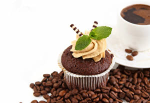 Picture Cupcake Coffee White background Grain Design Leaf Mentha Food