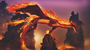 Fotos Drache Flamme 3D-Grafik Fantasy
