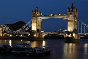 Bilder England Brücken Flusse Binnenschiff London Nacht Turm Thames, Tower bridge