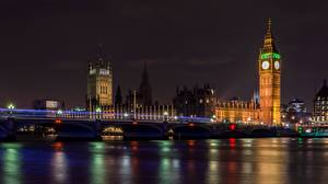 Bilder England Flusse Brücken London Nacht Türme Big Ben Thames Städte