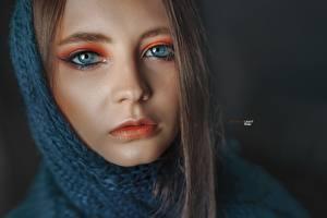 Fotos Augen Gesicht Blick Schminke Nase Alexander Drobkov Eva Lapenko Mädchens