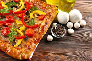 Fotos Fast food Pizza Pilze Schwarzer Pfeffer Zucht-Champignon Das Essen