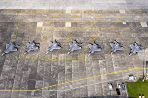 Image Airplane Fighter aircraft Japan From above USAF F-22 Raptor Yokota AB Aviation