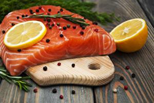 Image Fish - Food Lemons Black pepper Salmon Wood planks Cutting board