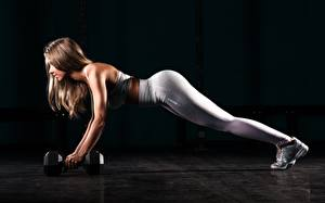 Picture Fitness Legs Press-up Dumbbell Brown haired Workout Black background athletic Girls