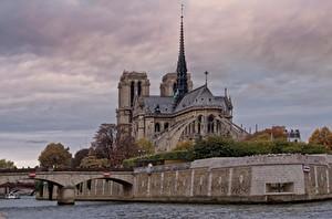 Hintergrundbilder Frankreich Kathedrale Flusse Brücke Tempel Paris Notre Dame, river Seine Städte