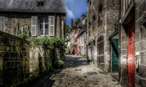 Pictures France Houses Street Fence HDRI Dinan Brittany Cities