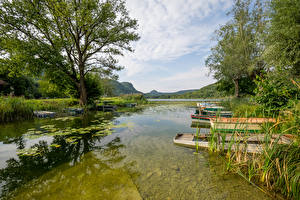 Fotos Frankreich See Bootssteg Boot Bäume Lake Barterand