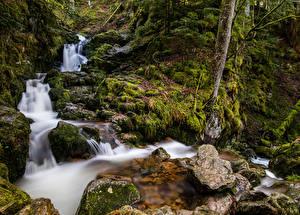 Hintergrundbilder Frankreich Wasserfall Steine Laubmoose Bäche