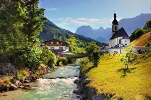Picture Germany Church Bridge River Stone Mountains Bavaria Village Grass Ramsau bei Berchtesgaden Nature