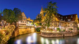 Hintergrundbilder Deutschland Haus Kanal Straßenlaterne Bäume Café Nacht Esslingen