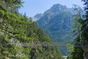 Wallpaper Germany Mountains Bridge Bavaria Mittenwald, Gorge Of Leutasch Nature