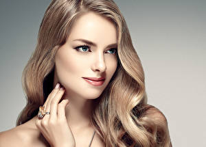 Pictures Gray background Hair Staring Hands Jewelry ring Beautiful Dark Blonde Face female