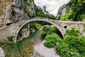 Fotos Griechenland Brücken Gebirge Fluss Bogen architektur Felsen mountain area of Ioannina Natur