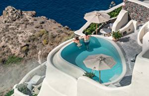 Image Greece Resorts Swimming bath Two Relax Santorini, city Oia Cities