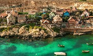 Hintergrundbilder Gebäude Küste Boot Malta Dorf Popeye Village Städte
