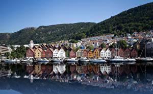 Fondos de Pantalla Casa Costa Noruega Bergen Bryggen Ciudades