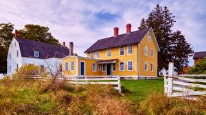 Pictures Houses USA Village Grass Fence Shaker Village Of Canterbury, New Hampshire Cities