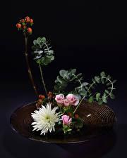 Fonds d'écran Ikebana Chrysanthemum Eustoma Branche Fleurs