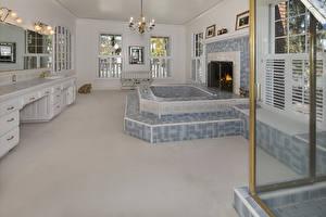 壁纸、、インテリア、デザイン、風呂、暖炉、