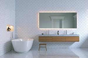 Fotos Innenarchitektur Design Badezimmer Spiegel 3D-Grafik
