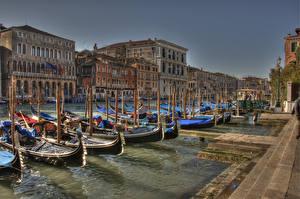 Hintergrundbilder Italien Haus Boot Schiffsanleger Venedig Kanal HDRI Städte