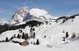 Fonds d'écran Italie Montagnes Neige Alpes Sciliar mountain, Sassolungo, Dolomites Nature images