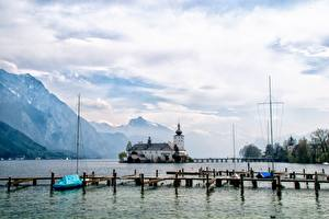 Pictures Lake Castle Marinas Mountain Austria Schloss ORT castle, Traunsee Nature