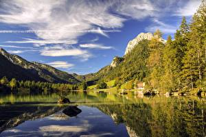 Wallpapers Lake Mountain Forests Stone Germany Bavaria Berchtesgaden, Lake Hintersee Nature
