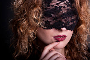 Pictures Masks Fingers Face Red lips Hair Redhead girl Girls