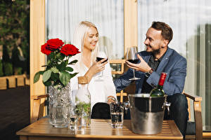 Picture Man Roses Wine Two Blonde girl Smile Stemware Dating Girls