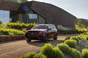 Images Mercedes-Benz Red Metallic 2020 GLS 580 4MATIC AMG Line Cars