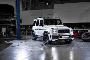 Hintergrundbilder Mercedes-Benz G-Modell Weiß Sport Utility Vehicle 2019 Urban Automotive AMG G 63 Autos
