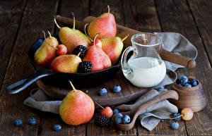 Pictures Milk Pears Blueberries Blackberry Wood planks Jugs Frying pan Food