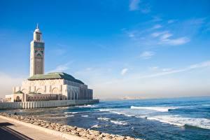 Desktop wallpapers Morocco Mosque Coast Ocean Towers Casablanca, Mesquita de Hassan II Cities