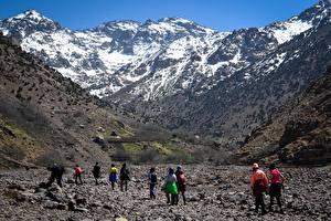 Hintergrundbilder Marokko Gebirge Stein Schnee Felsen Reisender Wanderung Atles