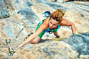 Fonds d'écran Alpinisme Falaise Main Alpiniste Filles Sport