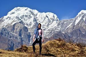 Image Mountains Asiatic Cliff Snow Tourist Eyeglasses Himalayas, Nepal Nature Girls