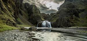 Fotos Gebirge Flusse Steine Wasserfall Felsen Natur