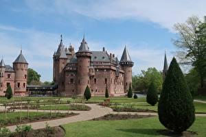 Fonds d'écran Pays-Bas Château fort Gazon De Haar Castle Villes images