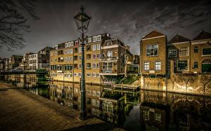 Hintergrundbilder Niederlande Haus Abend Kanal Straßenlaterne Treppe HDR Gorinchem Städte