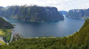 Fondos de Pantalla Noruega Montañas Bosques Acantilado Sognefjord, Sogn-og-Furan Naturaleza